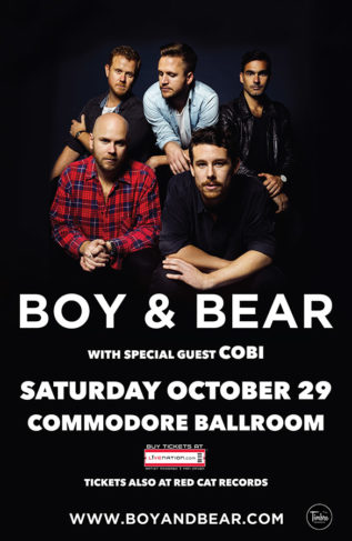 Boy & Bear - Oct 29 - Commodore Ballroom