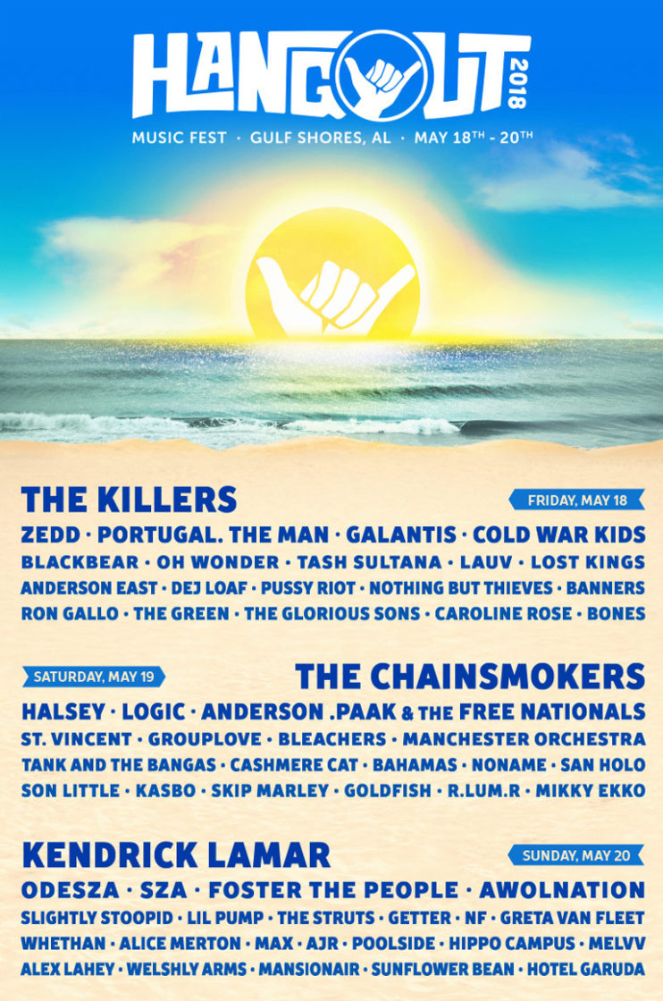 Lineup poster for Hangout Music Festival at Gulf Shores, Alabama on May 18th – 20th, 2018