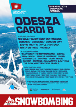 Snowbombing 2018 lineup poster at Sun Peaks Resort (Kamloops)