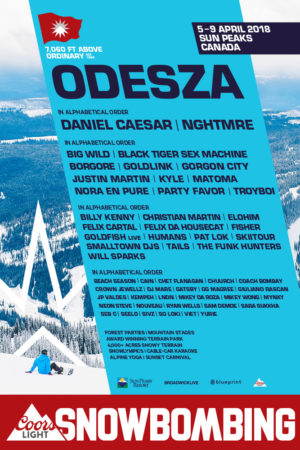 Snowbombing canada 2018 lineup poster at Sun Peaks Resort (Kamloops) – April 5th-9th 2018