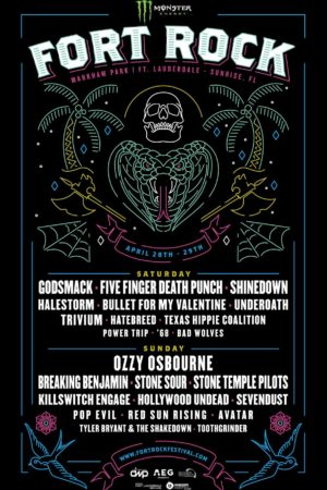 Lineup poster for Monster Energy Fort Rock Announces 2018 in Sunrise, Florida on April 28th-29th 2018