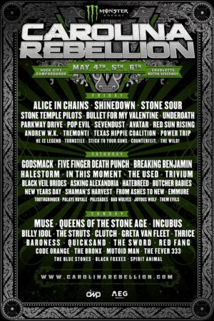 Lineup poster for Monster Energy Carolina Rebellion 2018 at Rock City Campground in Concord, North Carolina on May 4th-6th 2018