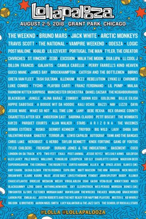 Lollapalooza 2018 at Grant Park (Chicago, IL) - August 2-5 2018 - poster lineup admat